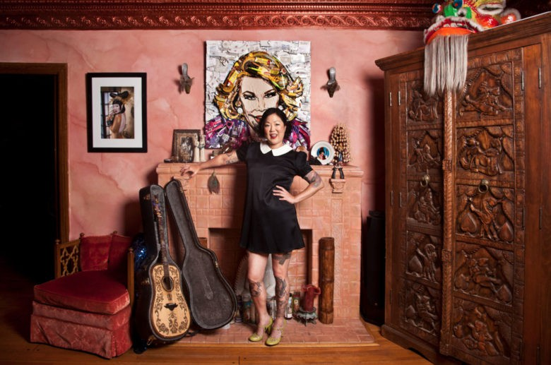 Comedian Margaret Cho  at home in front of a Mercier original.