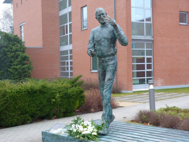 A bronze statue of Steve Jobs stands outside of Graphisoft in Budapest, a software company that might not be around today if it weren't for Jobs, the CEO says.