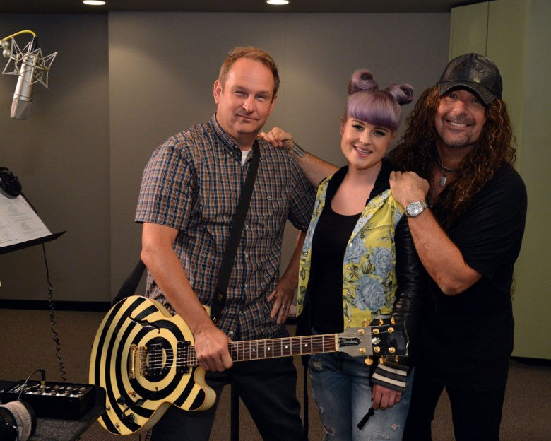 Parry Gripp in the studio with voice artists Kelly Osbourne and Jess Harnell for the Disney cartoon The 7D