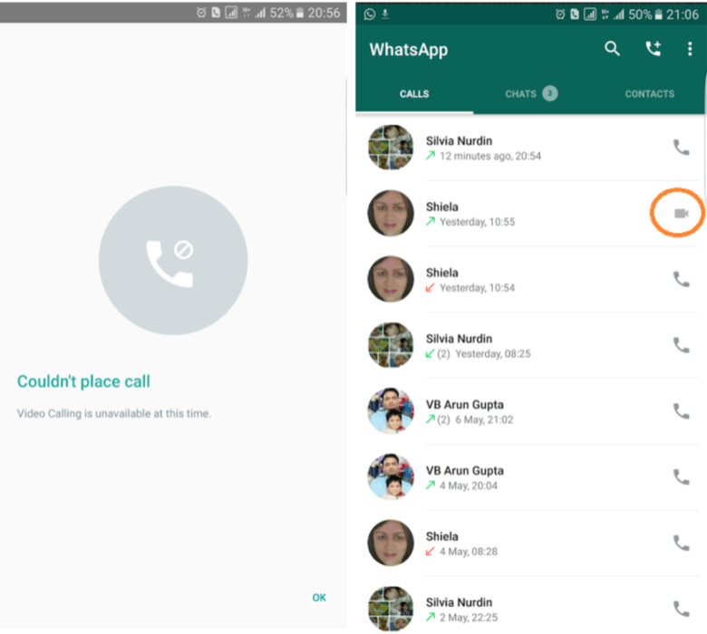 WhatsApp video calling in an Android beta.