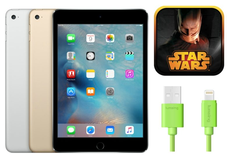 deals ipad mini 4, lightning cables, star wars kotor