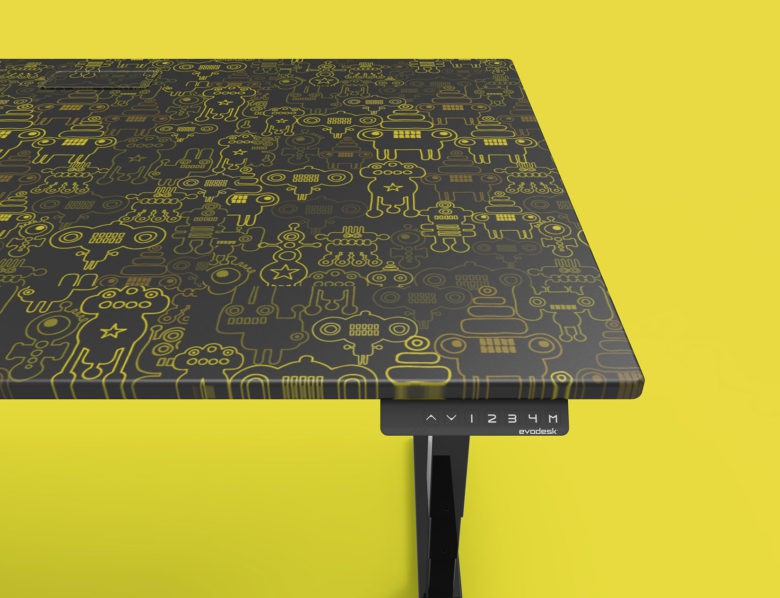 Choose a favorite design to customize your Evodesk. Even robots.