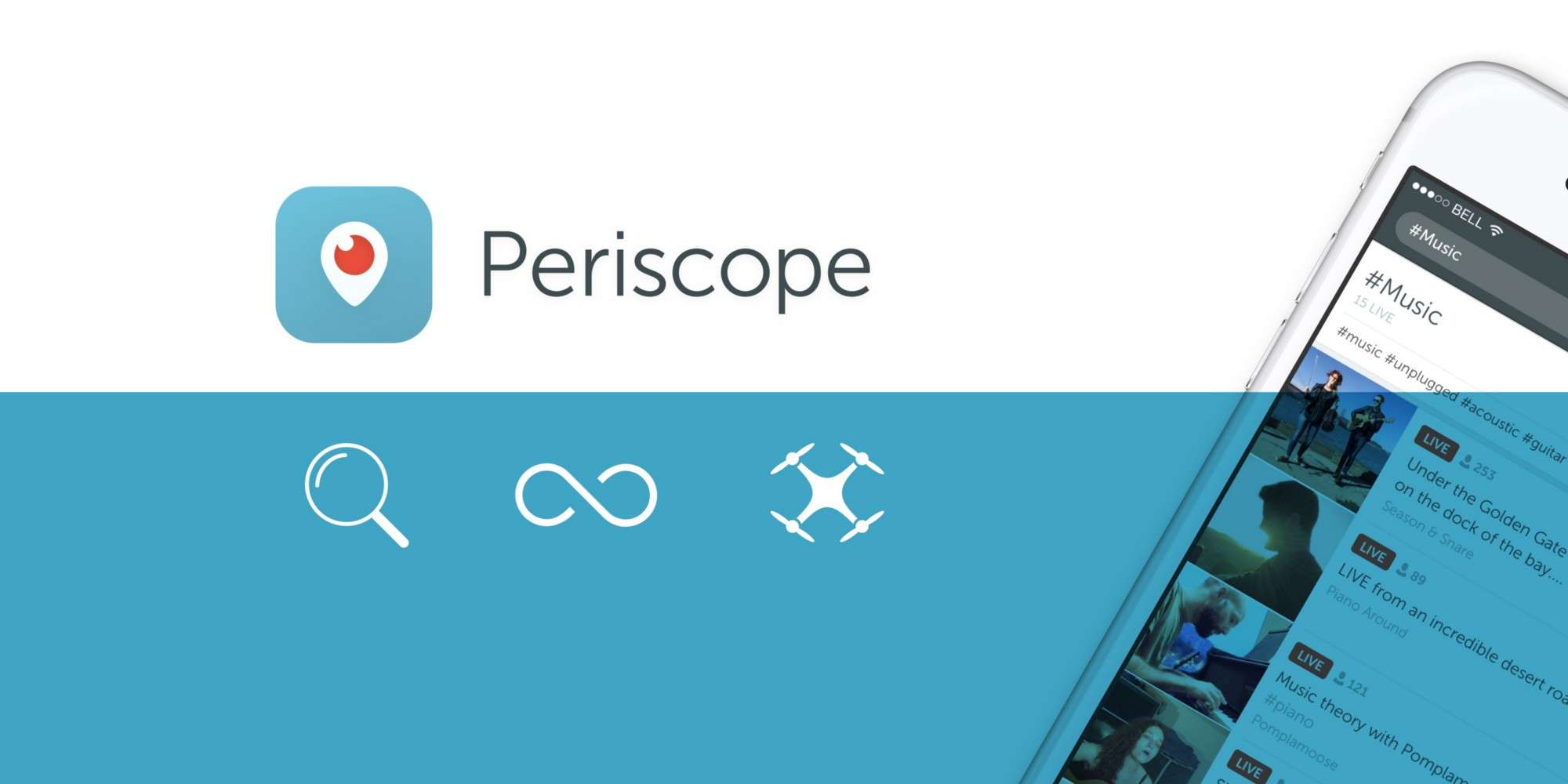 Broadcast from your GoPro, iPhone, or DJI drone with Periscope.