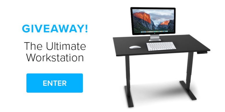 Enter to win a free standing desk with an Apple Thunderbolt monitor, wireless keyboard and more.