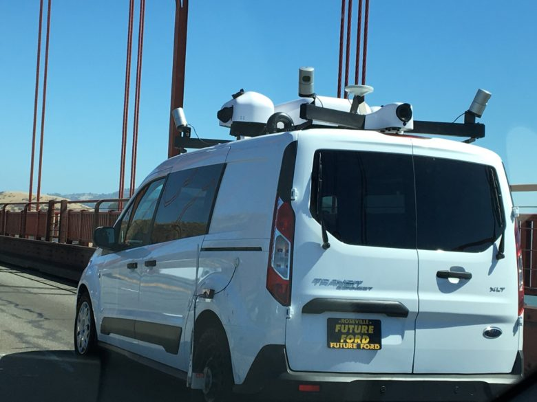 This mystery van is likely making detailed 'point cloud' maps for autonomous vehicles.