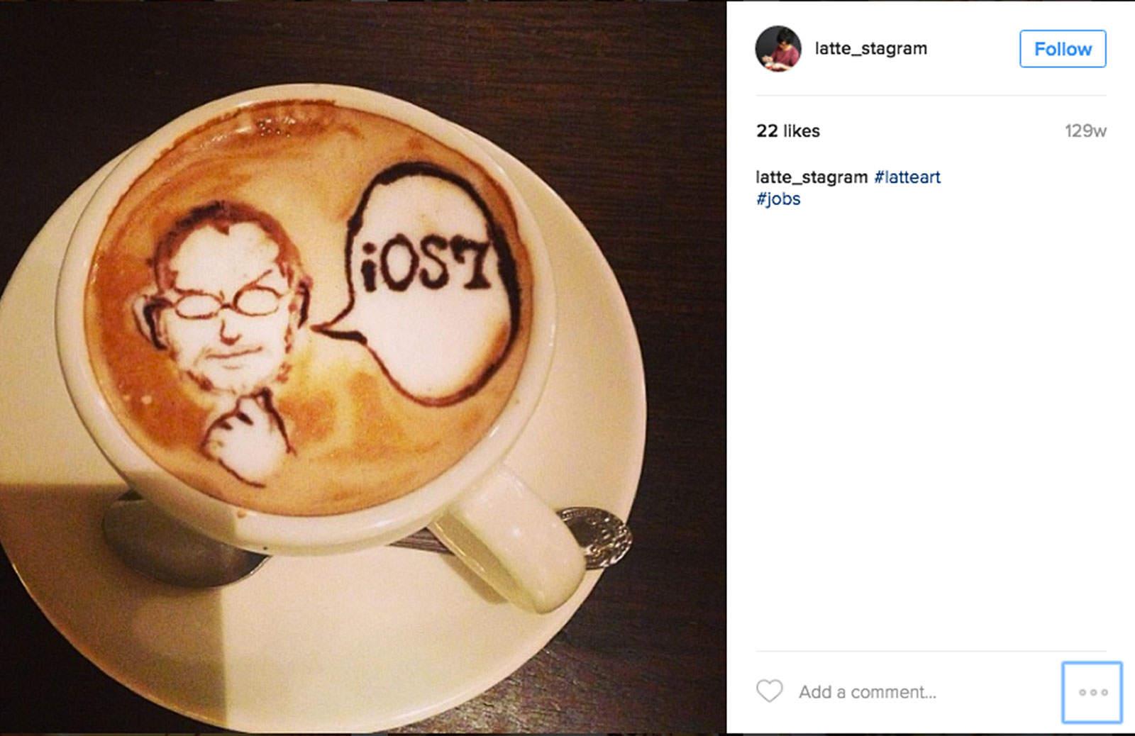 Steve Jobs appears from a swirl of milk and coffee in latte art by Kohei Matsuno.