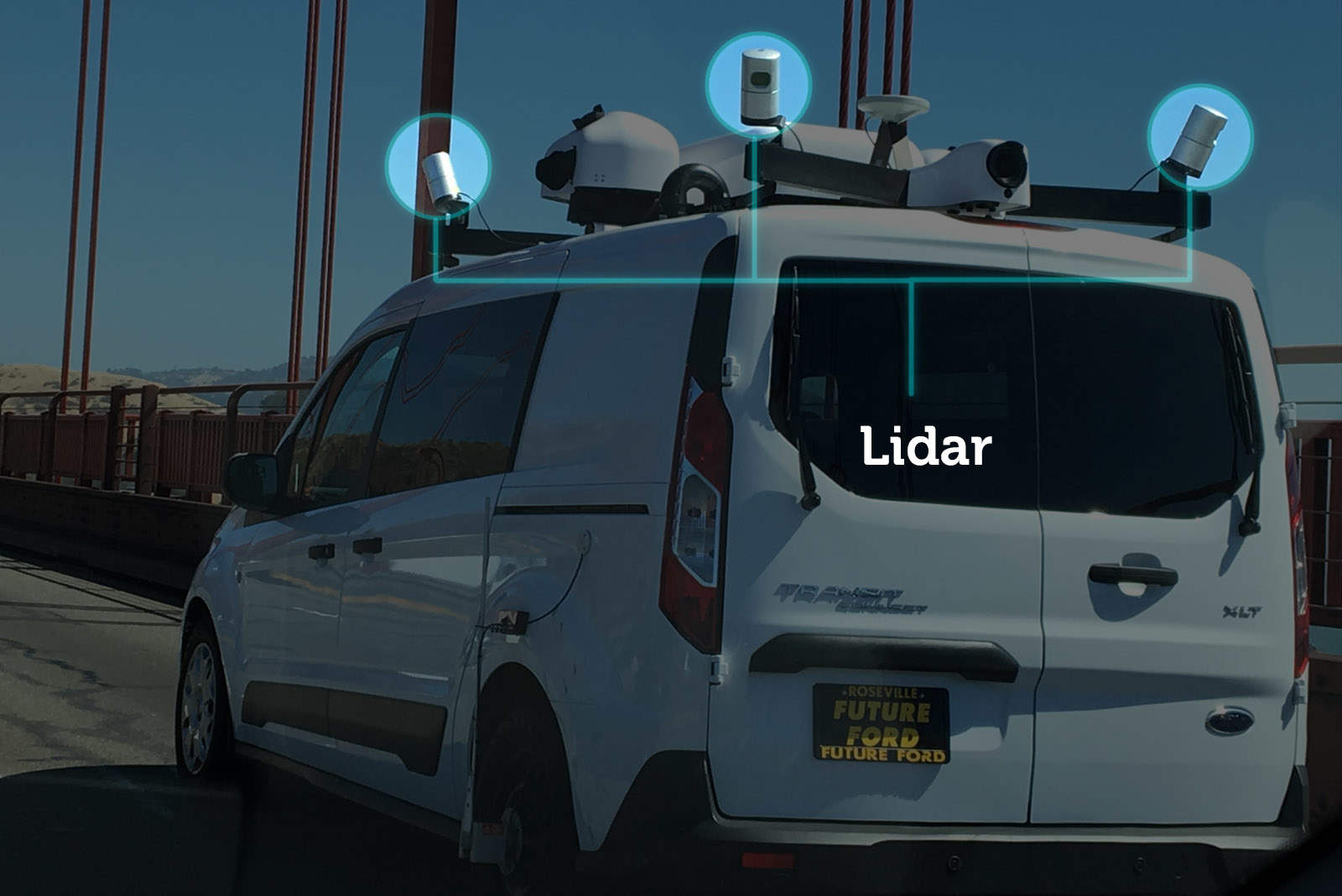 "The four Velodyne Lidar sensors mounted on each corner are likely generating a ""point cloud' -- an ultra precise 3D scan of the road -- that'll be used to navigate self-driving cars."