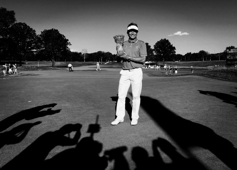 Bernhard Langer holds up the Sam Snead trophy winning the Constellation SENIOR PLAYERS Championship.