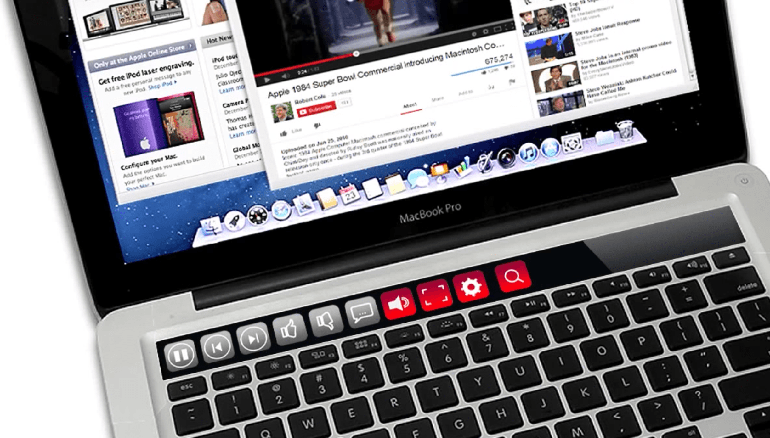 Concept imagines the magic of macbook pros oled touch bar playback controls for youtube ccuart Image collections