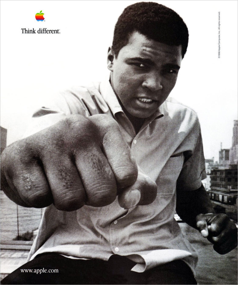 Muhammed Ali in Apple's Think Different campaign.