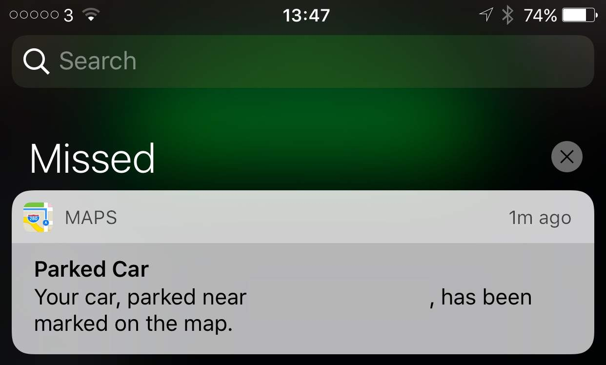 iOS 10 automatically tracks where you parked.