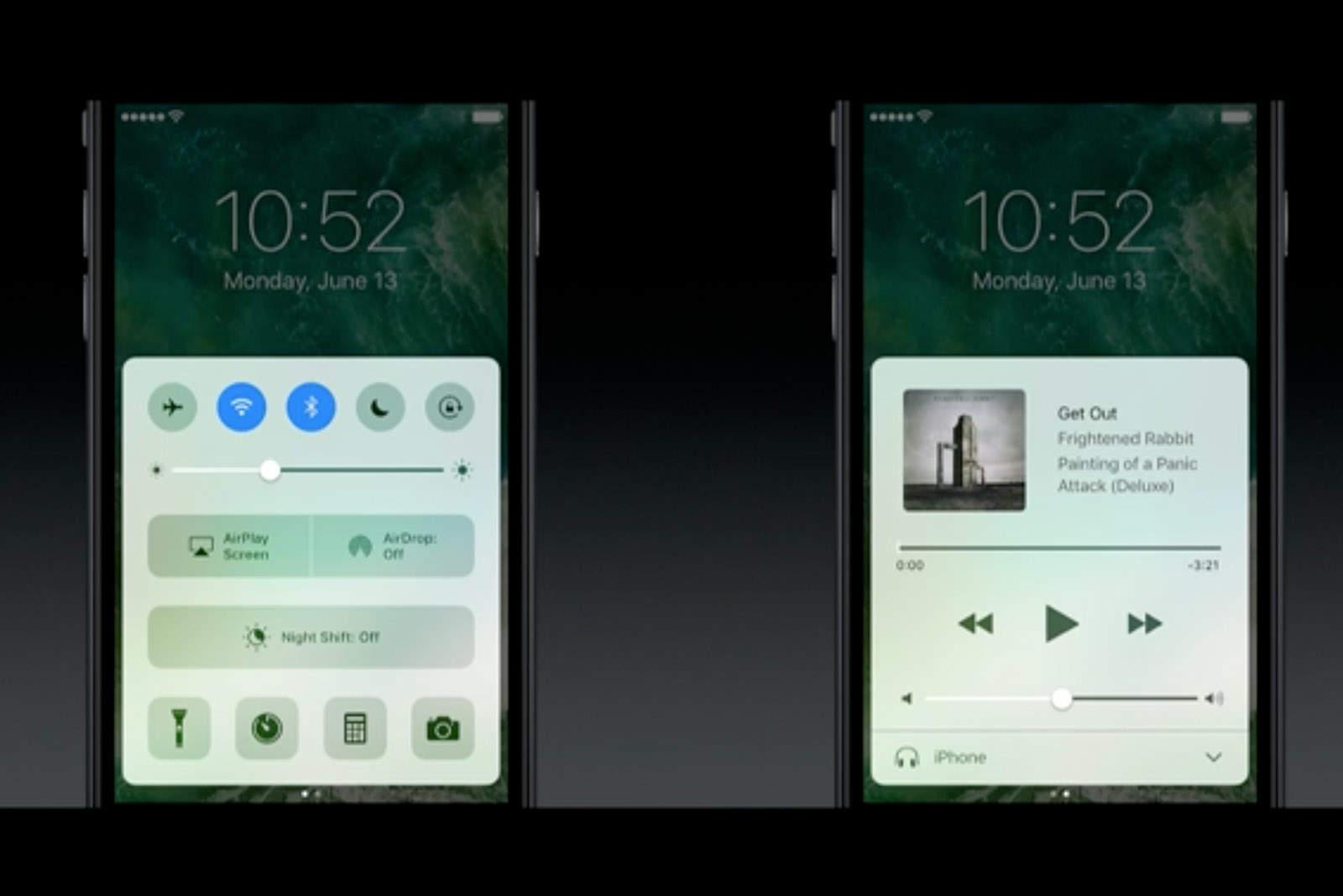 The iOS 10 lockscreen is more interactive.