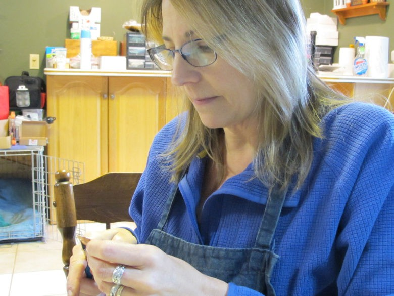 Peterson at work in her home in Pennsylvania.