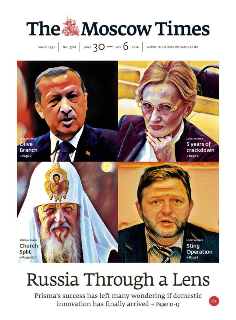 The Moscow Times applied Prisma to ordinary headshots for a moody illustration.