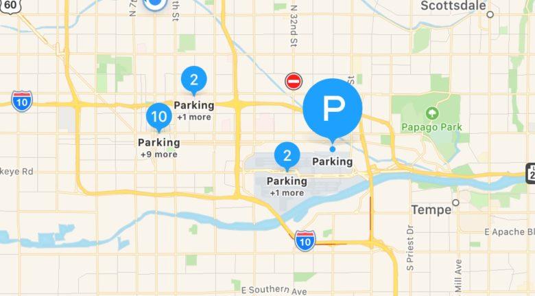 apple maps will help you find open parking spots