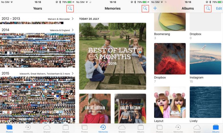 Photos search button iOS 10