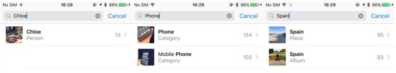iOS 10 Photos search