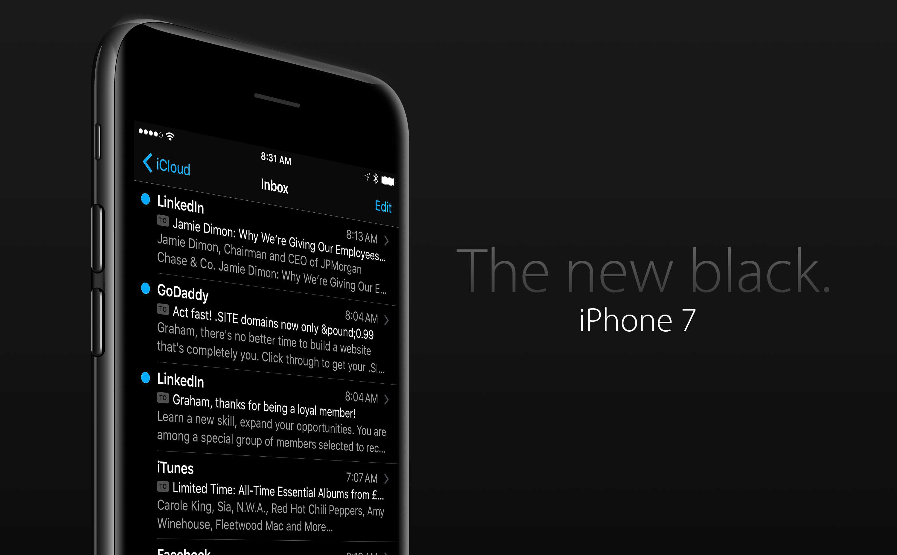 iPhone 7 mockup featuring black anodized aluminum case, OLED display and iOS 10 dark mode
