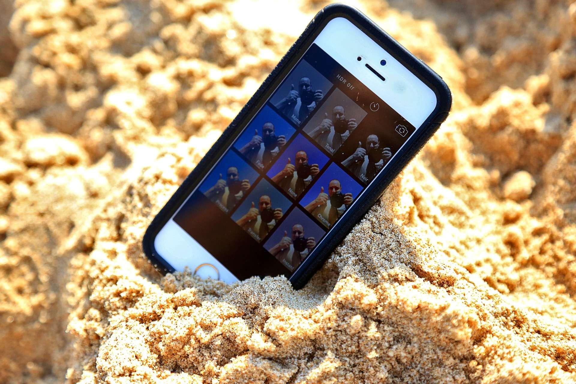 iPhone on the beach