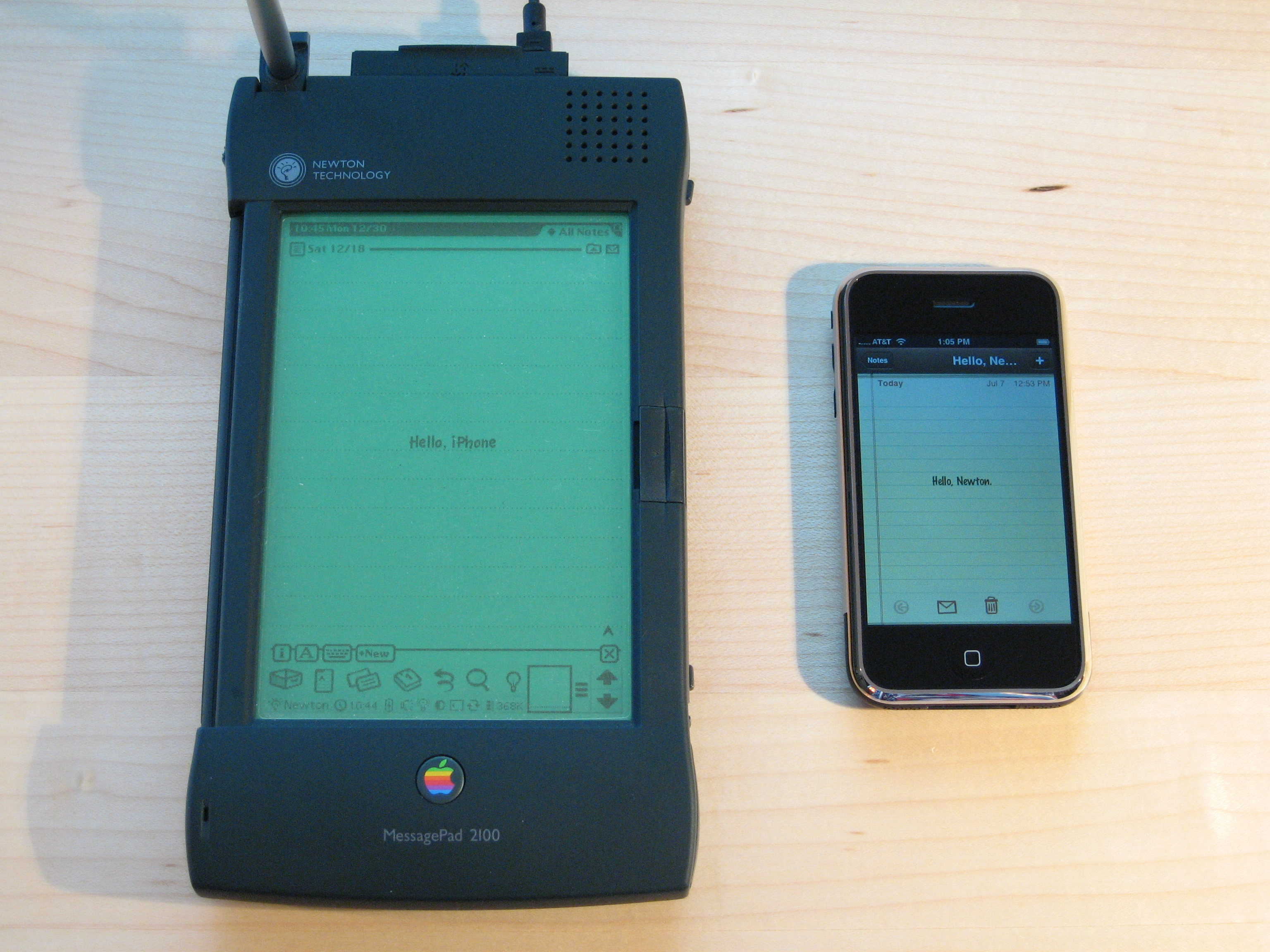 The Newton MessagePad looks gigantic next to an iPhone.