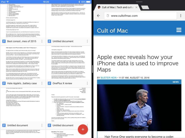 google docs sheets slides finally support split view on ipad