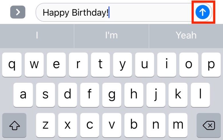 Messages send arrow iOS 10