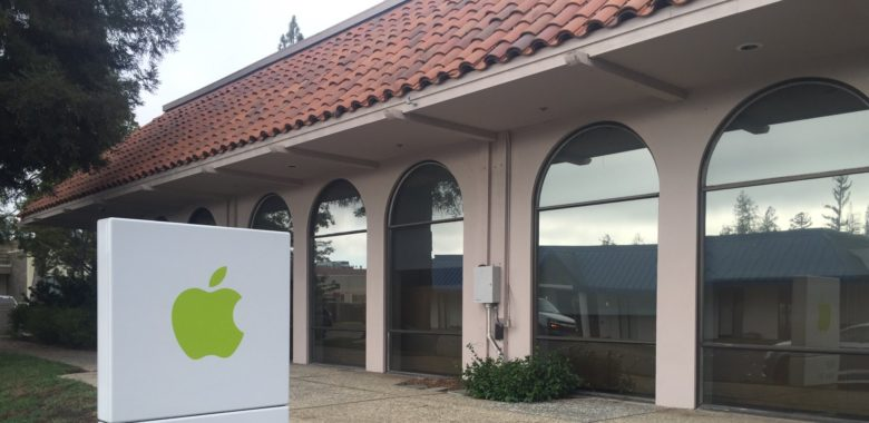 Thieves smashed a window to break into this Apple building.