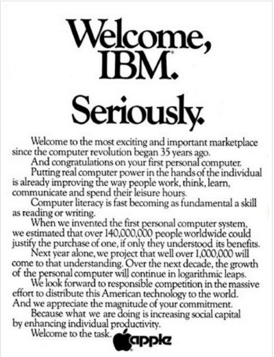 Apple's Wall Street Journal ad welcomed the IBM Personal Computer launch, albeit slightly mockingly