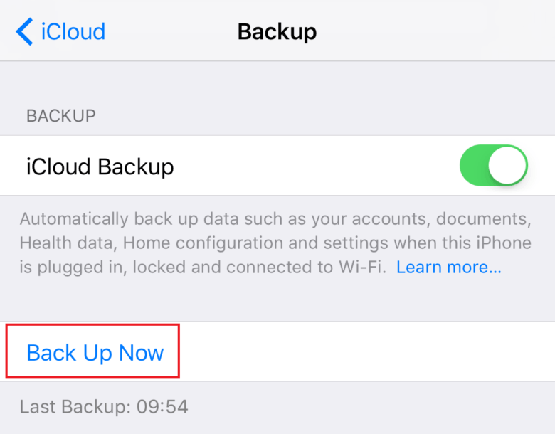 forcing iCloud backup