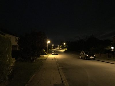 Nighttime street scene.