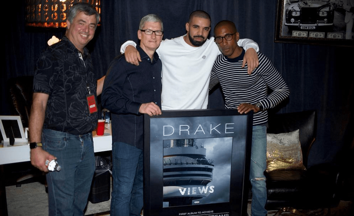 Apple CEO Tim Cook with Drake