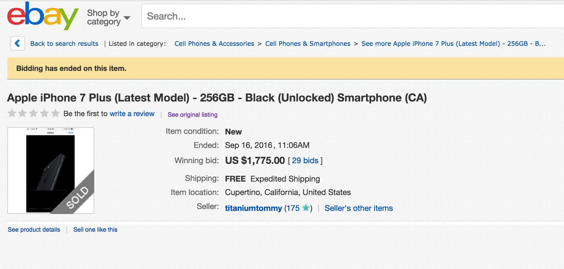 jet black iphone 7 plus is a hot item on ebay cult of mac. Black Bedroom Furniture Sets. Home Design Ideas