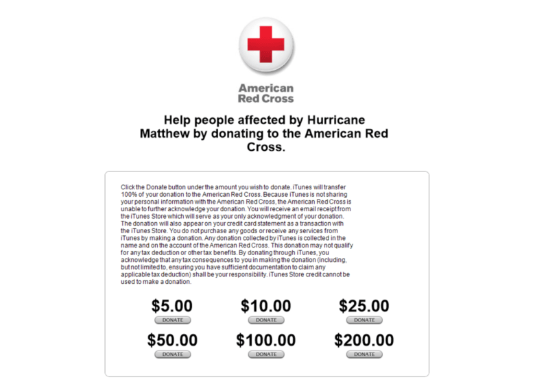 Hurricane Matthew iTunes donation