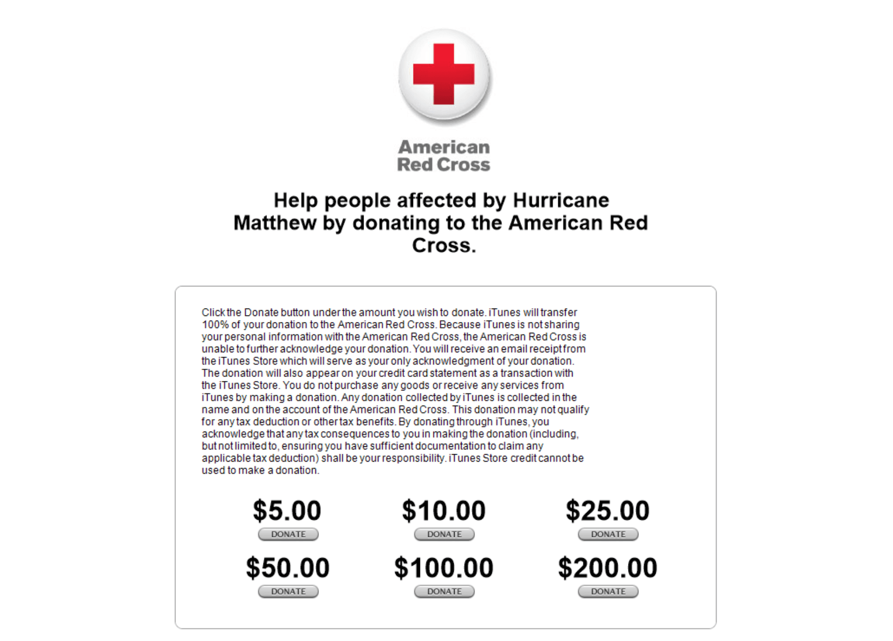 Hurricane Matthew iTunes donation