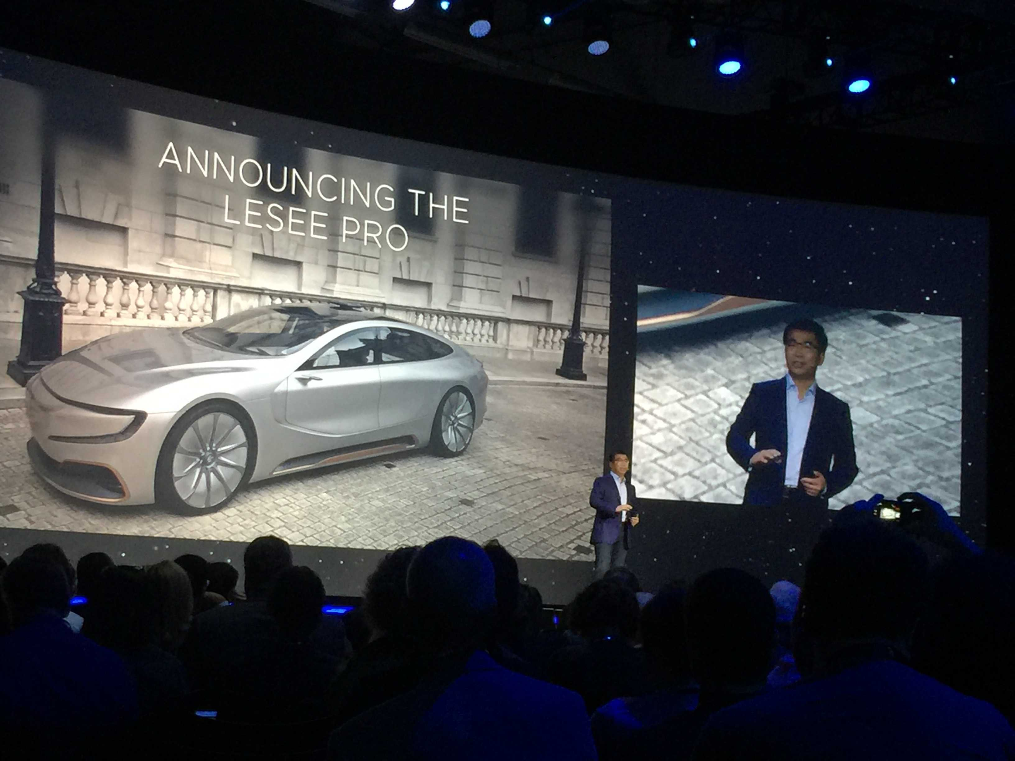 LeEco's Lei Ding shows off the LeSEE Pro, LeEco's autonomous electric concept car, in San Francisco.