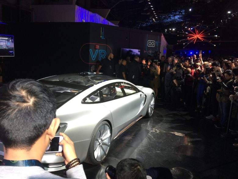 Journalists swarm around LeEco's LeSEE Pro concept car.