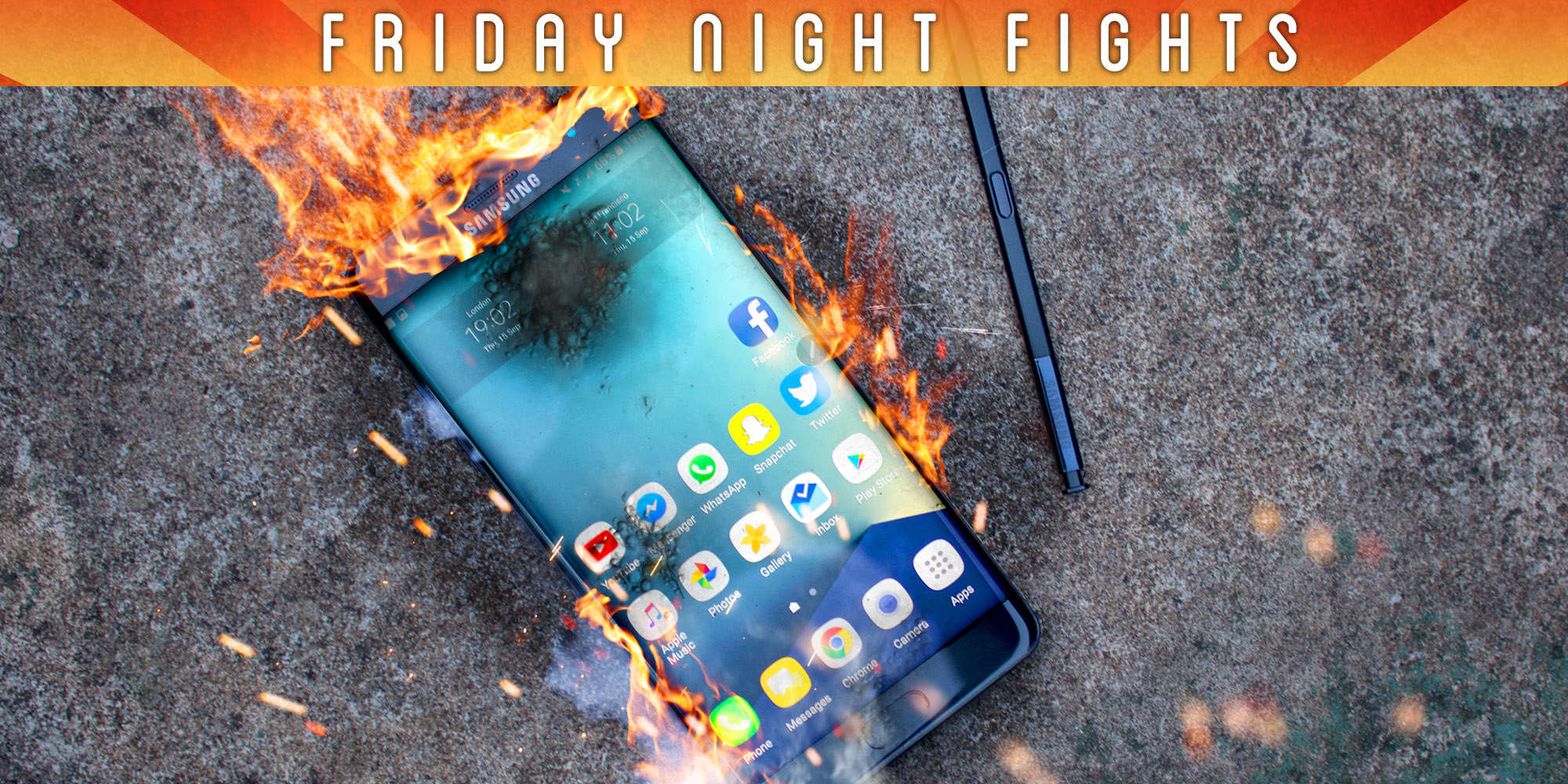 Galaxy Note 7 on fire