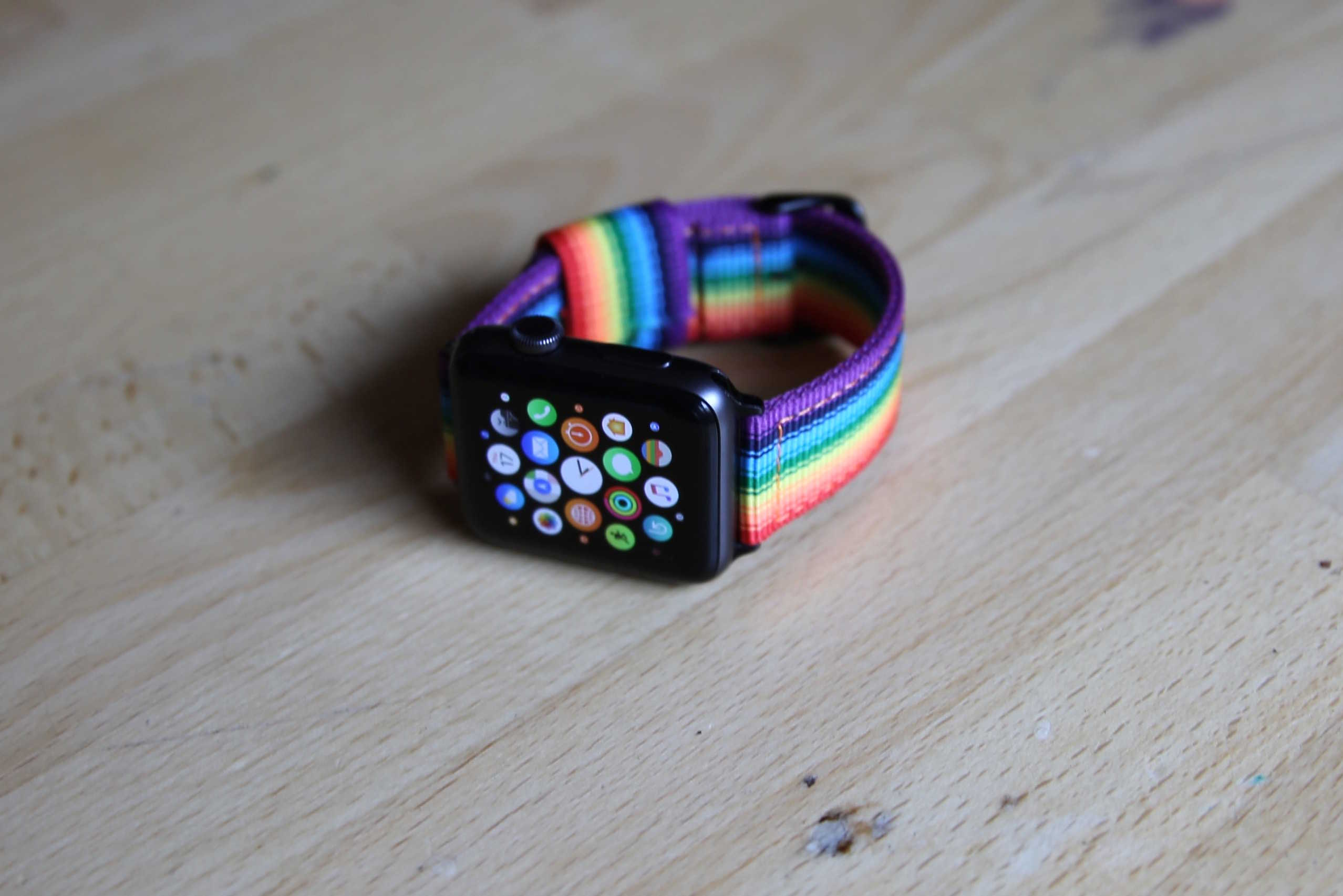 The Love is Love Pride band from Nyloon closely resembles Apple's own rainbow Apple Watch band that was released last year.