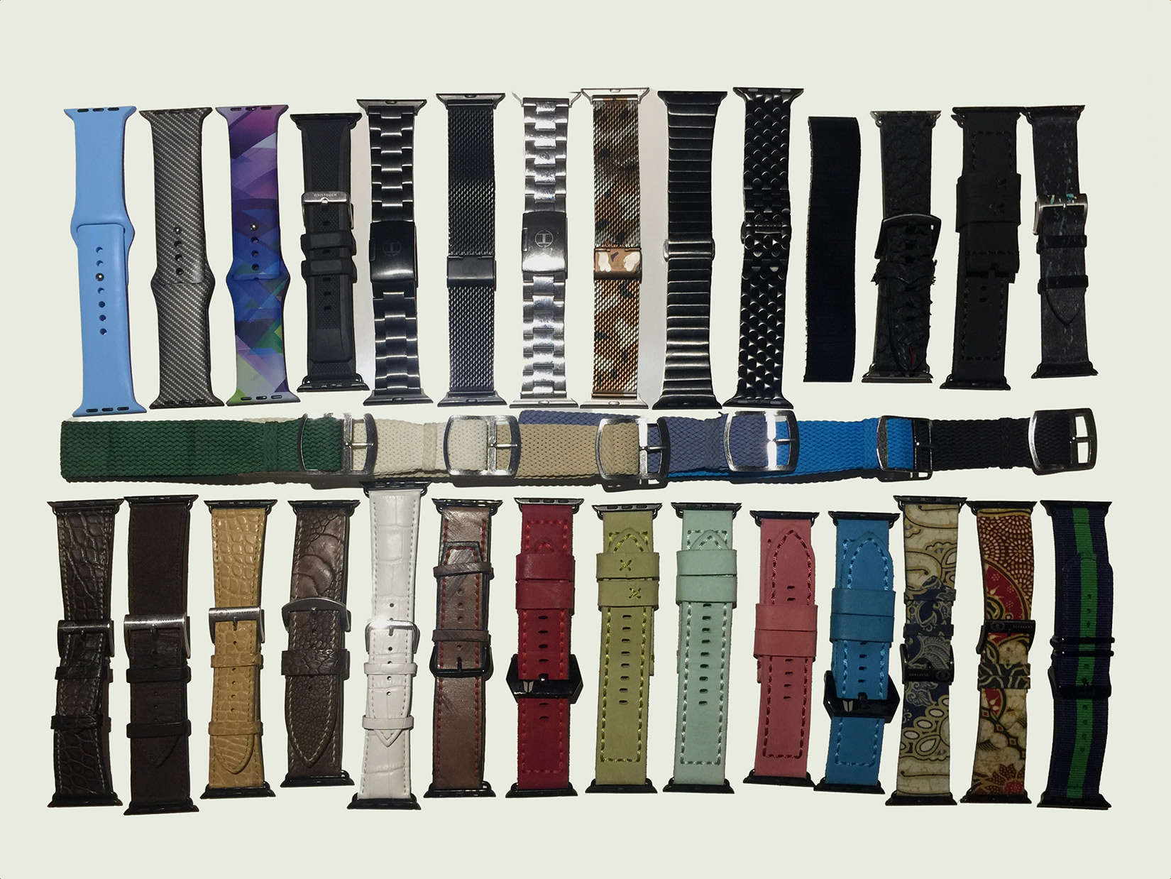 A sampling of Ryan Verbeek's ever-growing Apple Watch band collection.