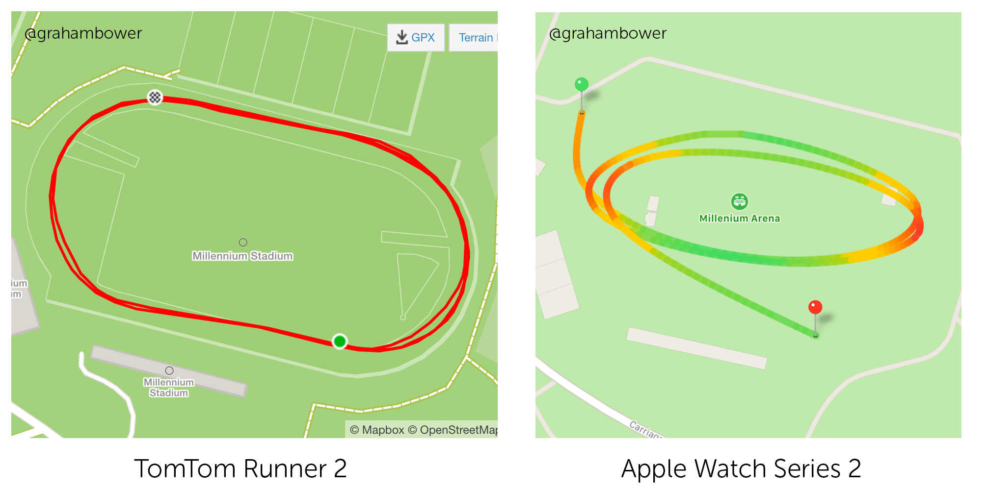 Apple Watch Series 2 can't keep up with TomTom when route mapping the running track