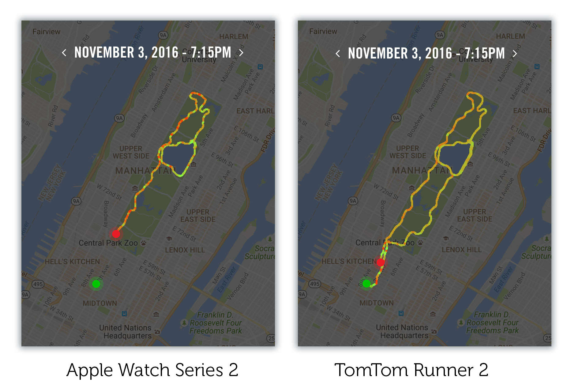 Running through Manhattan's concrete canyons