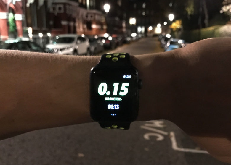 The Apple Watch display is perfect for nocturnal runners
