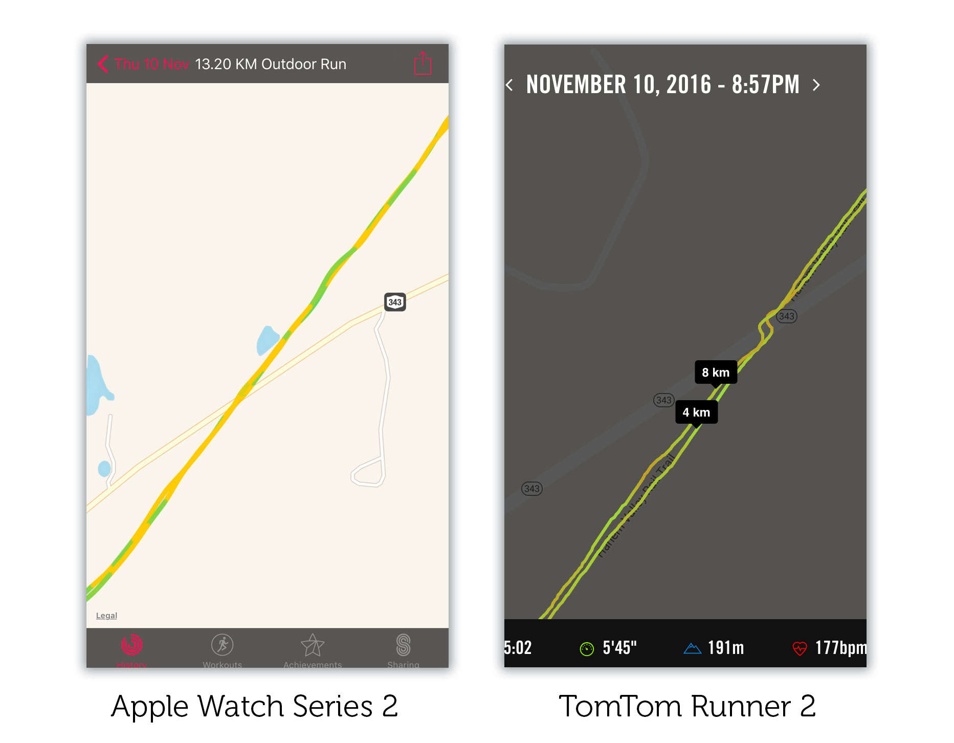 How did the chicken cross the road? Apple Watch and TomTom mapping compared