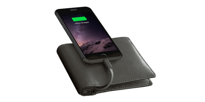 This slick leather wallet hides a secret power -- the ability to charge your phone.
