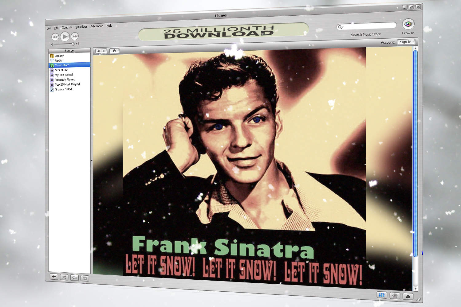 Today in Apple history: 'Let It Snow!' is iTunes' 25 millionth download.