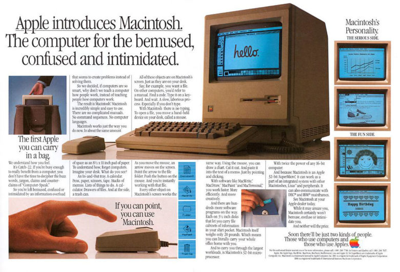 Apple lays out the strengths of the revolutionary Macintosh 128K in an original Mac ad.