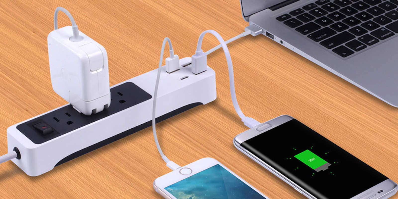 3 outlets and 4 USB ports make this travel-friendly power strip a comprehensive charging solution.