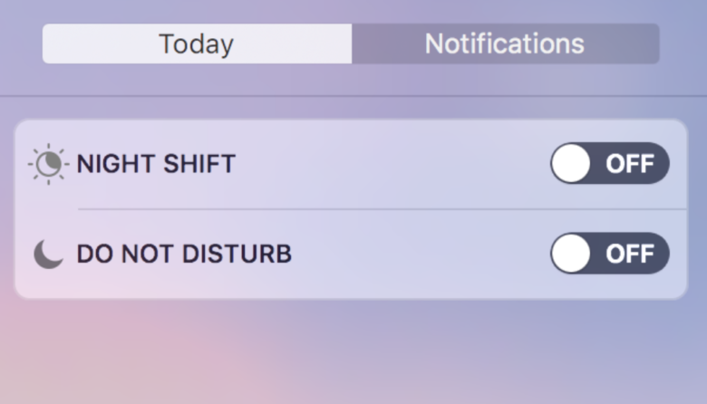 You can toggle Night Shift mode on and off in the Notification Center.