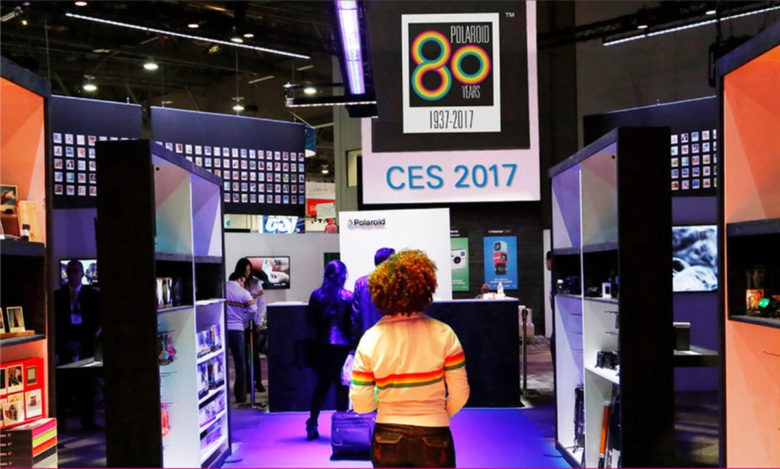 The Polaroid booth at CES 2017 in Las Vegas shows the company's embrace of the past as it moves forward.