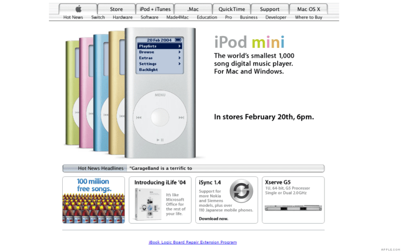 The iPod mini, which Apple